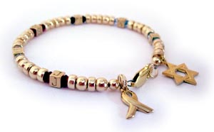 Hebrew Grandma Initial Bracelet with Star of David charm