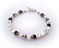 2 name Hebrew Name Bracelet with Birthstone Crystals