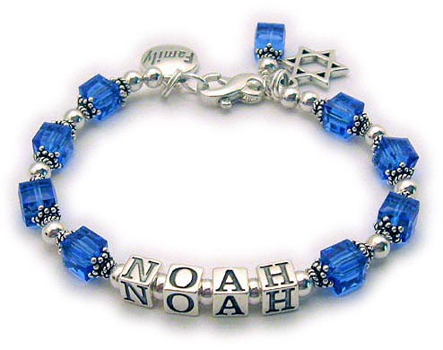 NOAH Bracelet with Star of David charm, FAMILY charm and Birthstone Crystal Dangle