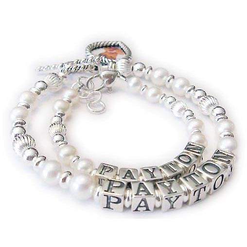 JBL-PS3-1string - PAYTON*2 bracelets shown*Here is a Mommy and Daughter Pearl and Sterling Bracelet. The Mother Bracelet is shown with a Heart Picture Frame Charm and the Daughter Bracelet is shown with a Heart Lobster claw extension clasp.
