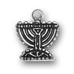 Sterling silver menora charm for jewish or judaic