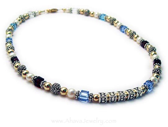 Fully Beaded Gold, Sterling, Pearl, Crystal Bubbe Necklace - Aj-S6-Gold-Necklace