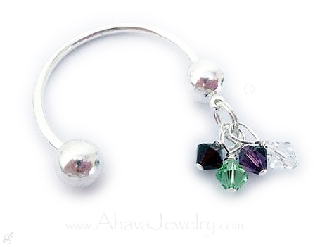 Birthstone Charm Key Ring Key Chain - DBL-Key-1