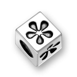 Flower Sterling Silver Block Letter Bead