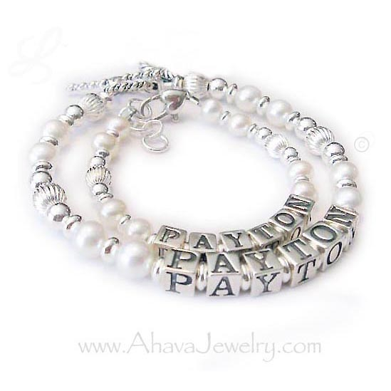 Payten Pearl and Sterling silver Mother and Daughter Bracelets - AJ-P1