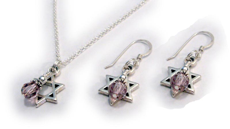 Star of David Necklace and Earrings with 6mm round Swarovski Beads in June's Birthstone Color