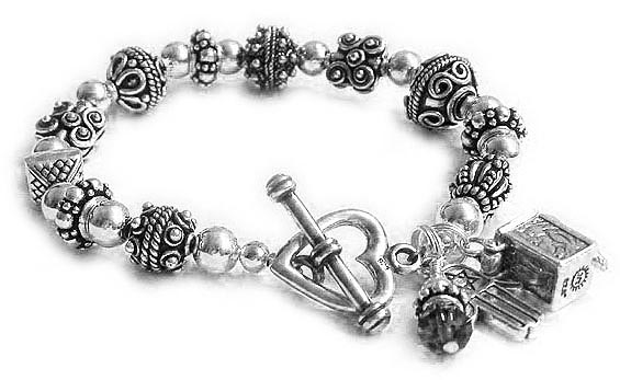 This Judaic Prayer Box Bracelet is shown with an upgraded Heart Toggle Clasp.