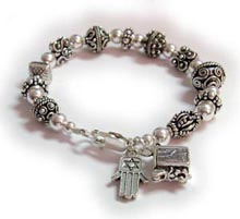 Prayer Box Bracelet with Hamesh or Hamsa Hand charm.