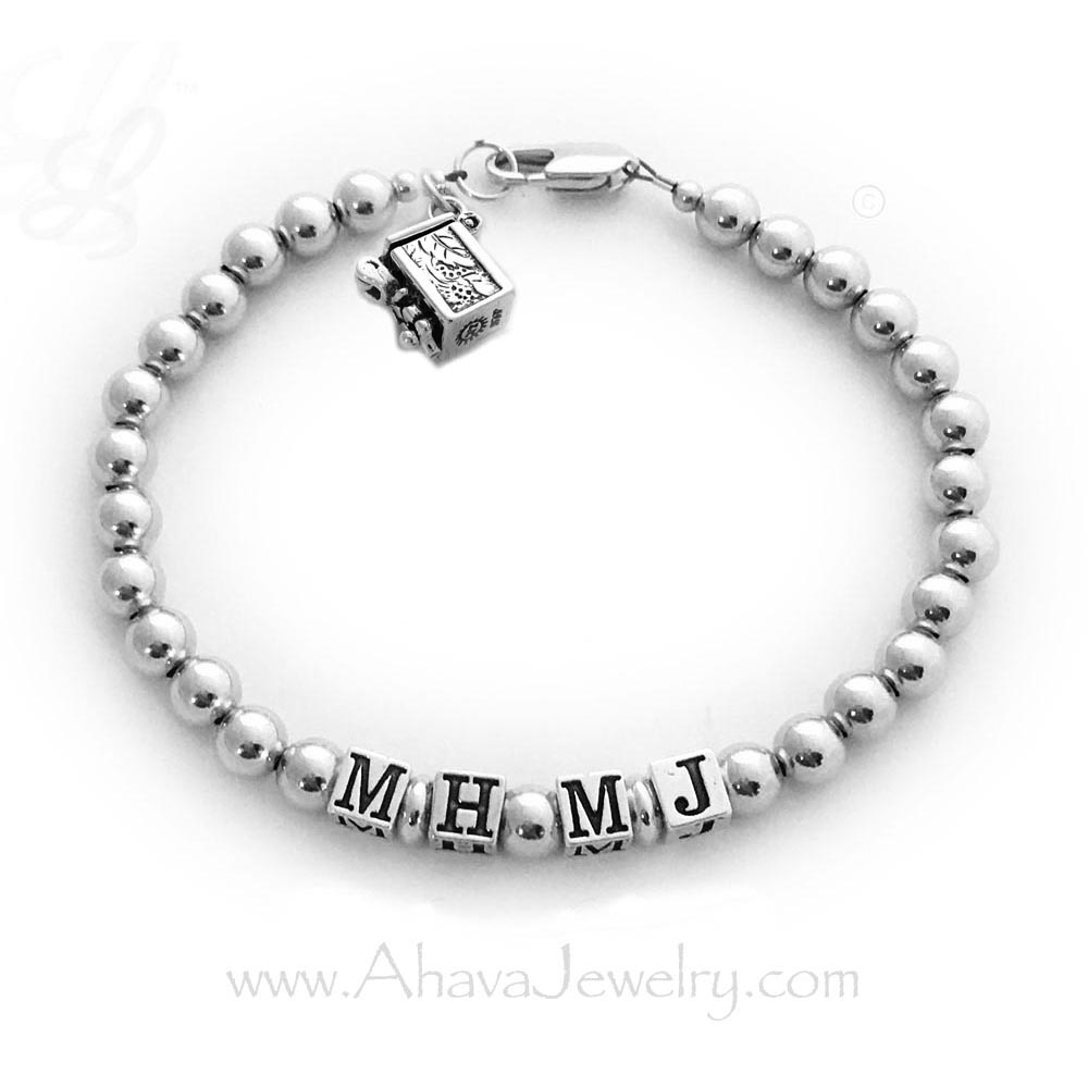 Sterling Silver Prayer Box Bracelet with Initials